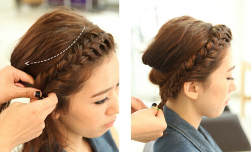 清爽韩式编发步骤10:从头顶正中央的头发中,用密齿梳倒
