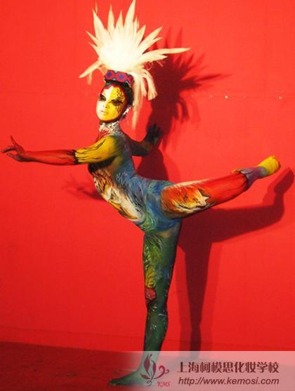专业模特展示人体彩绘作品